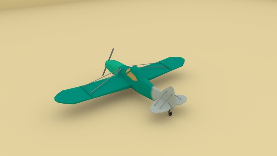 Airplane cartoon - 05 royalty-free 3d model - Preview no. 4