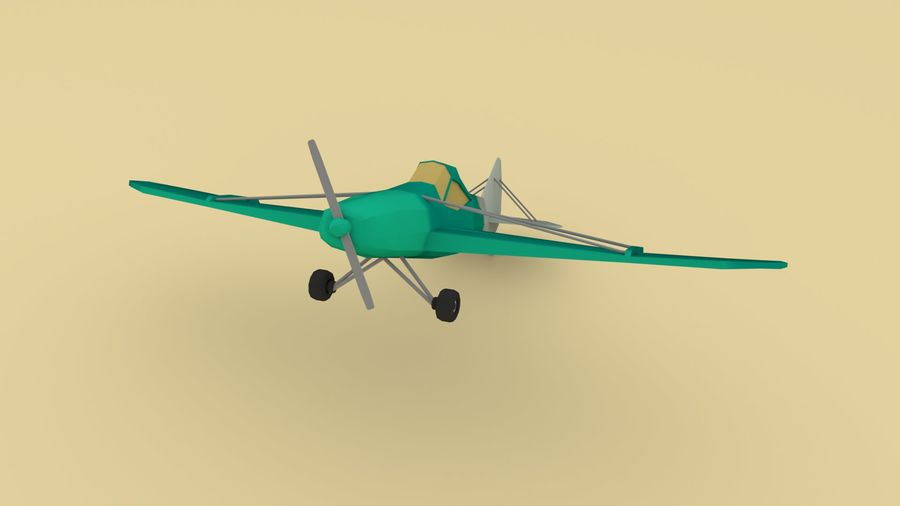 Airplane cartoon - 05 royalty-free 3d model - Preview no. 5