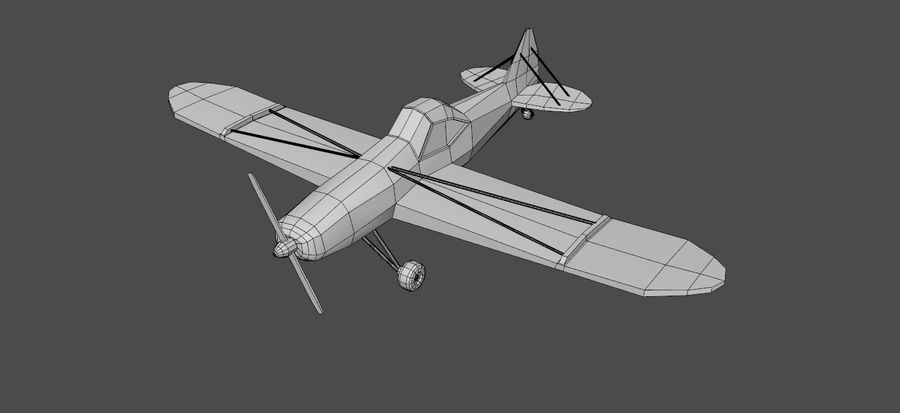 Airplane cartoon - 05 royalty-free 3d model - Preview no. 2