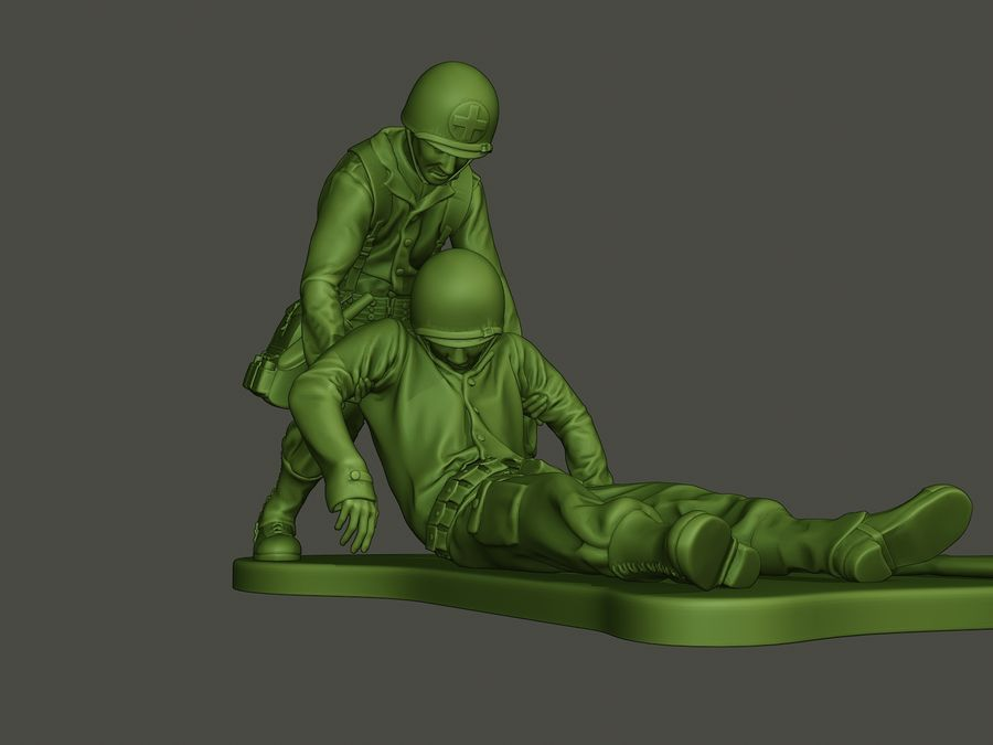 American soldiers ww2  dragging A8 royalty-free 3d model - Preview no. 12