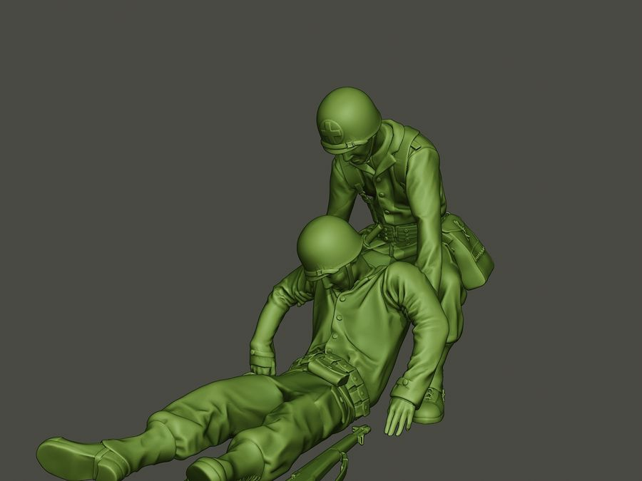 American soldiers ww2  dragging A8 royalty-free 3d model - Preview no. 26