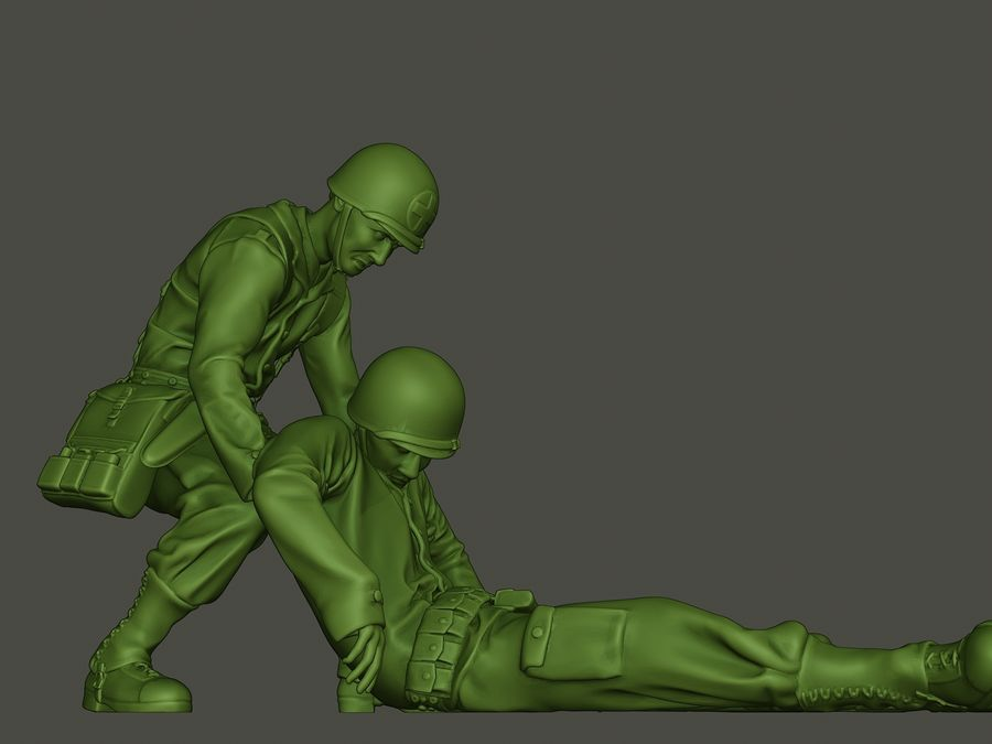 American soldiers ww2  dragging A8 royalty-free 3d model - Preview no. 28