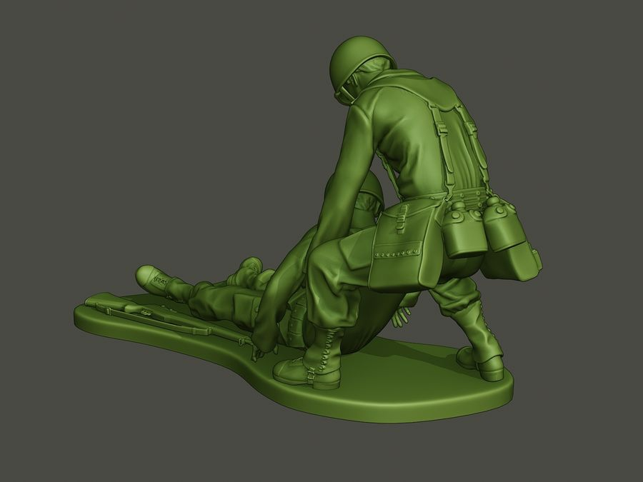 American soldiers ww2  dragging A8 royalty-free 3d model - Preview no. 4