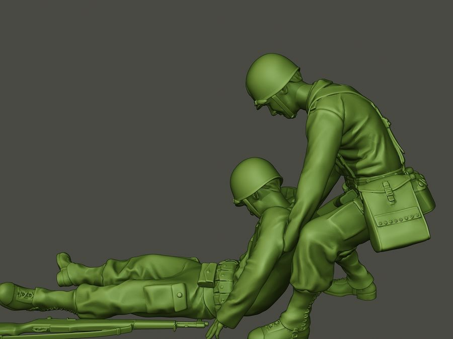 American soldiers ww2  dragging A8 royalty-free 3d model - Preview no. 25