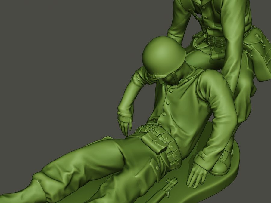 American soldiers ww2  dragging A8 royalty-free 3d model - Preview no. 17