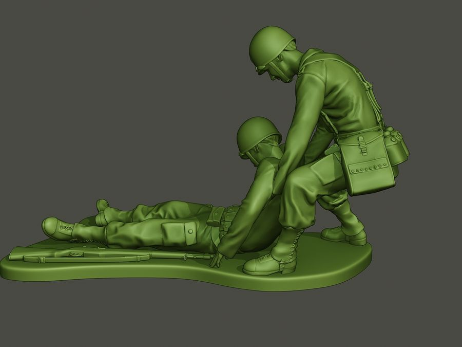 American soldiers ww2  dragging A8 royalty-free 3d model - Preview no. 3