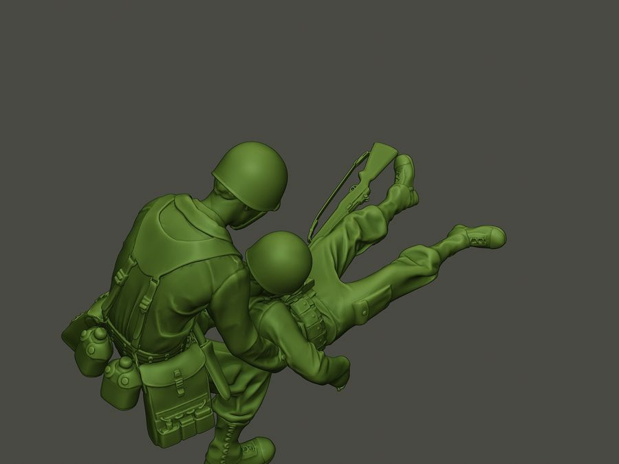 American soldiers ww2  dragging A8 royalty-free 3d model - Preview no. 22