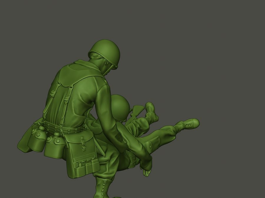 American soldiers ww2  dragging A8 royalty-free 3d model - Preview no. 23