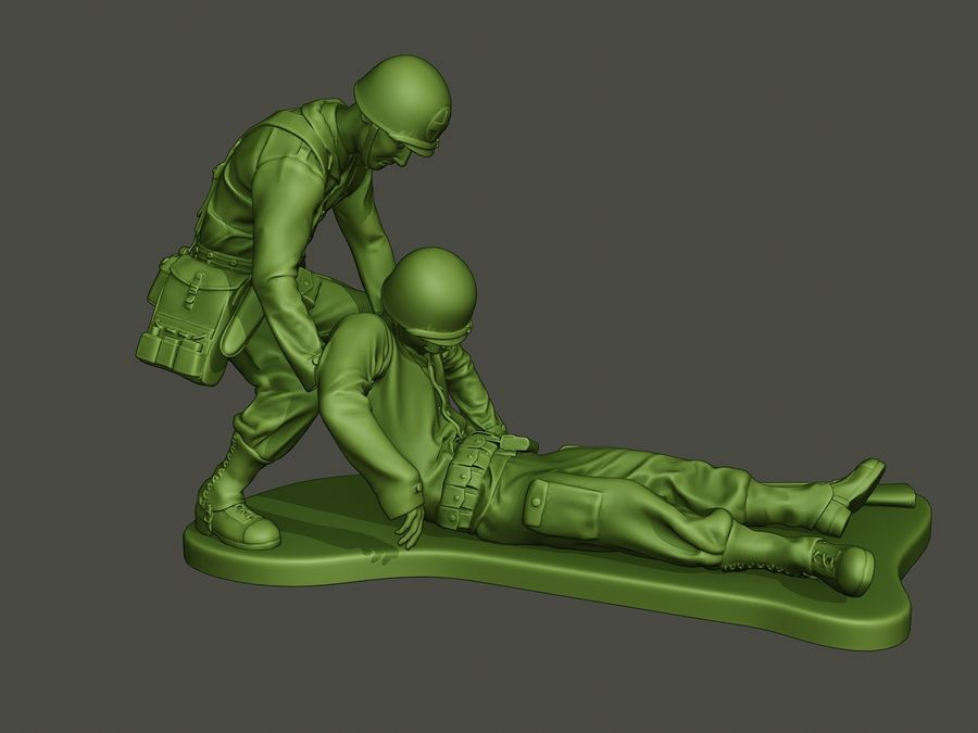 American soldiers ww2  dragging A8 royalty-free 3d model - Preview no. 8