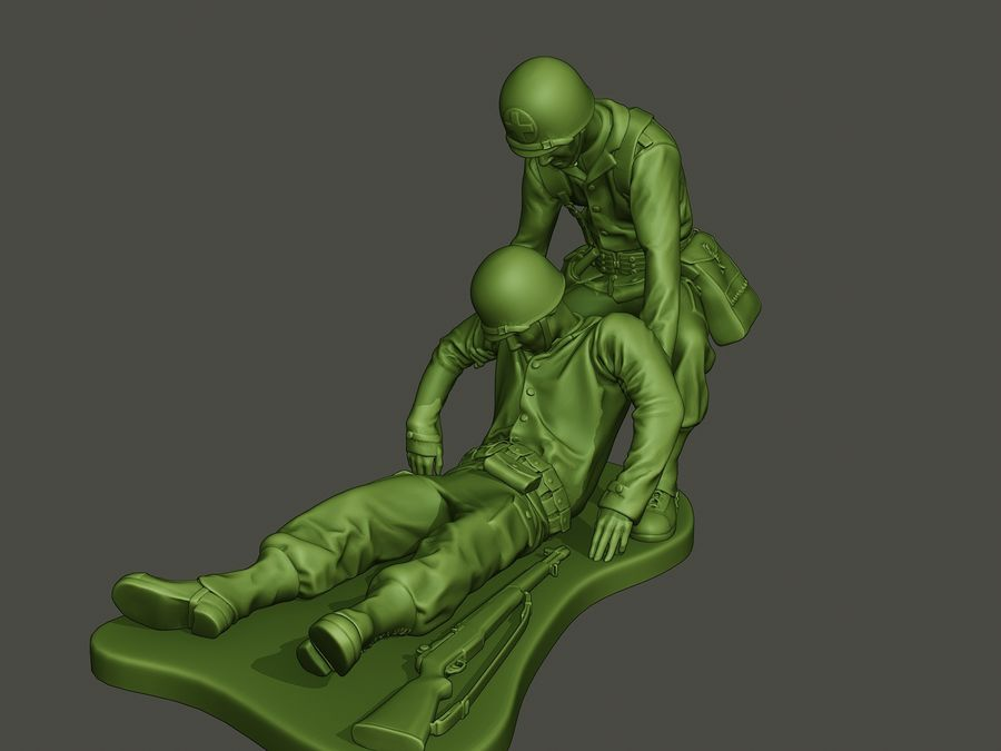 American soldiers ww2  dragging A8 royalty-free 3d model - Preview no. 1
