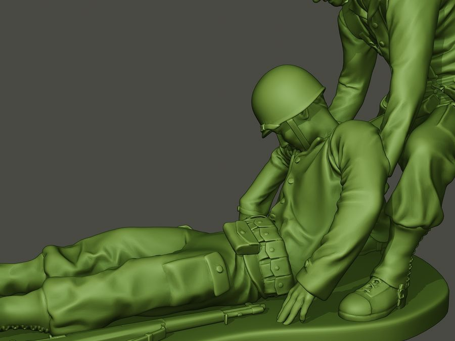 American soldiers ww2  dragging A8 royalty-free 3d model - Preview no. 16