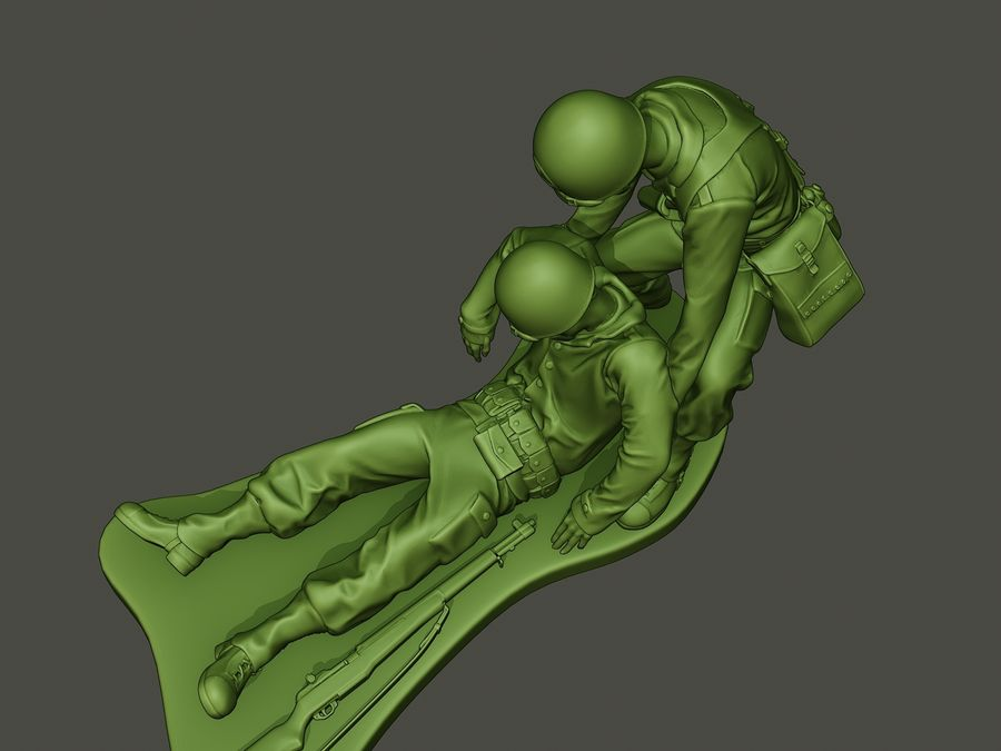 American soldiers ww2  dragging A8 royalty-free 3d model - Preview no. 14