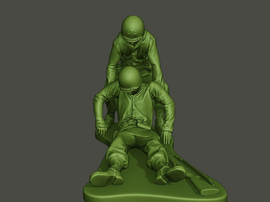 American soldiers ww2  dragging A8 royalty-free 3d model - Preview no. 10