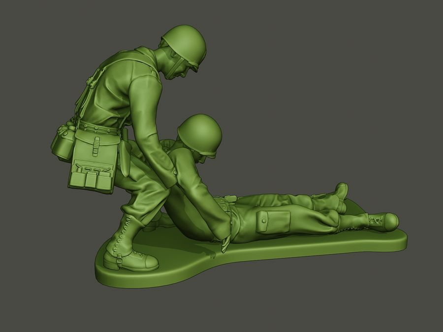 American soldiers ww2  dragging A8 royalty-free 3d model - Preview no. 7