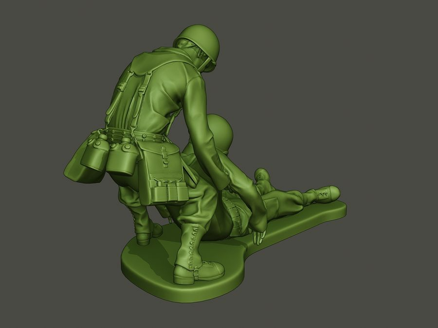 American soldiers ww2  dragging A8 royalty-free 3d model - Preview no. 6