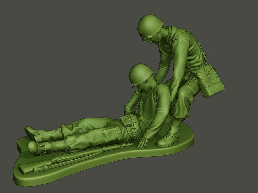 American soldiers ww2  dragging A8 royalty-free 3d model - Preview no. 2