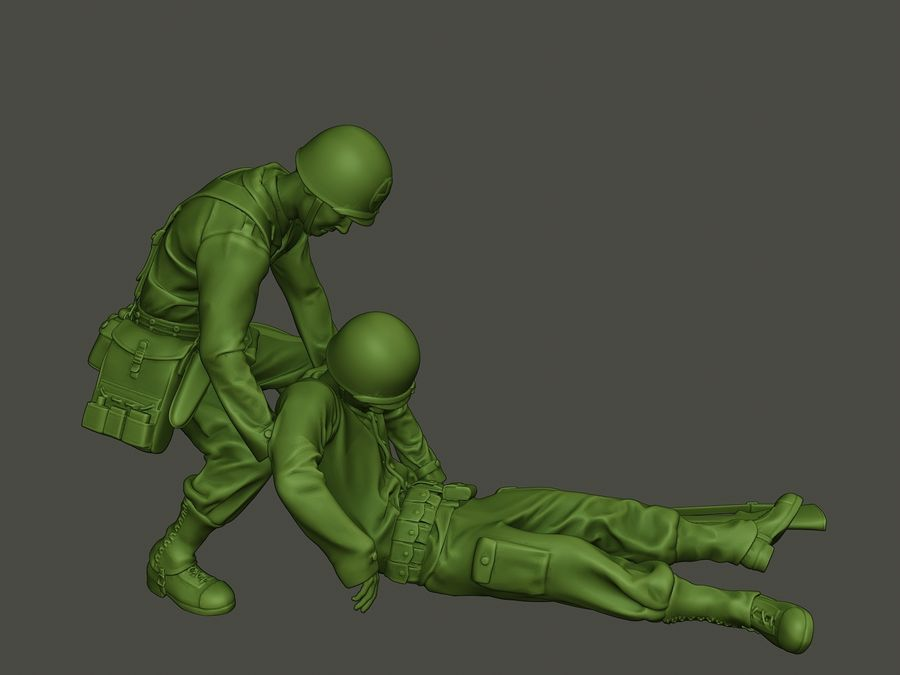 American soldiers ww2  dragging A8 royalty-free 3d model - Preview no. 29