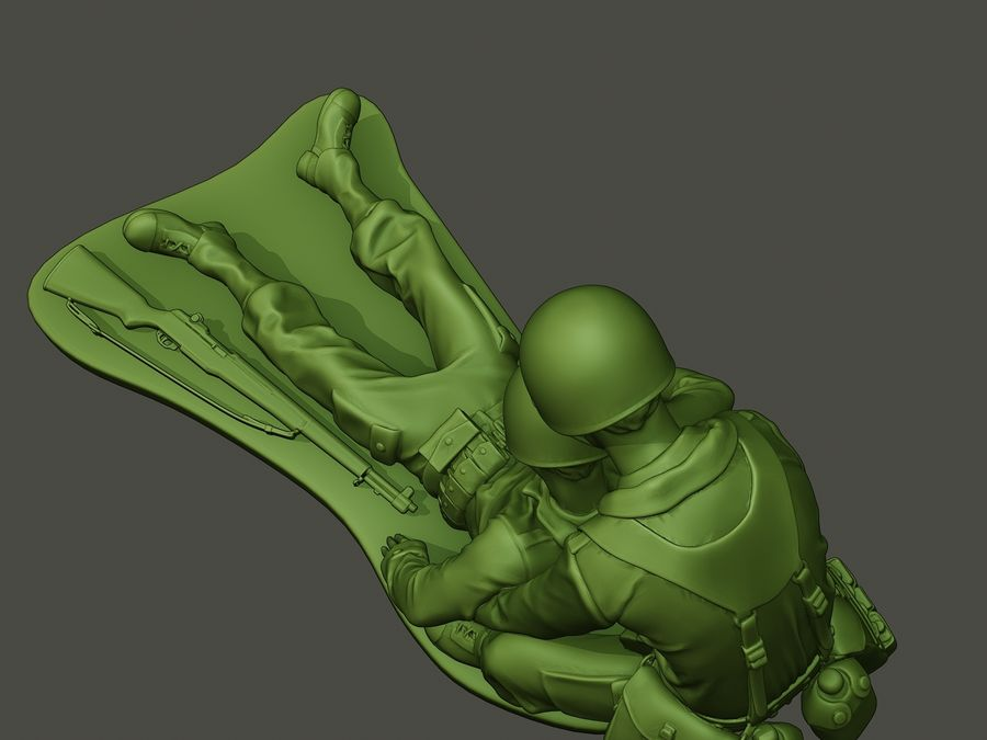 American soldiers ww2  dragging A8 royalty-free 3d model - Preview no. 15