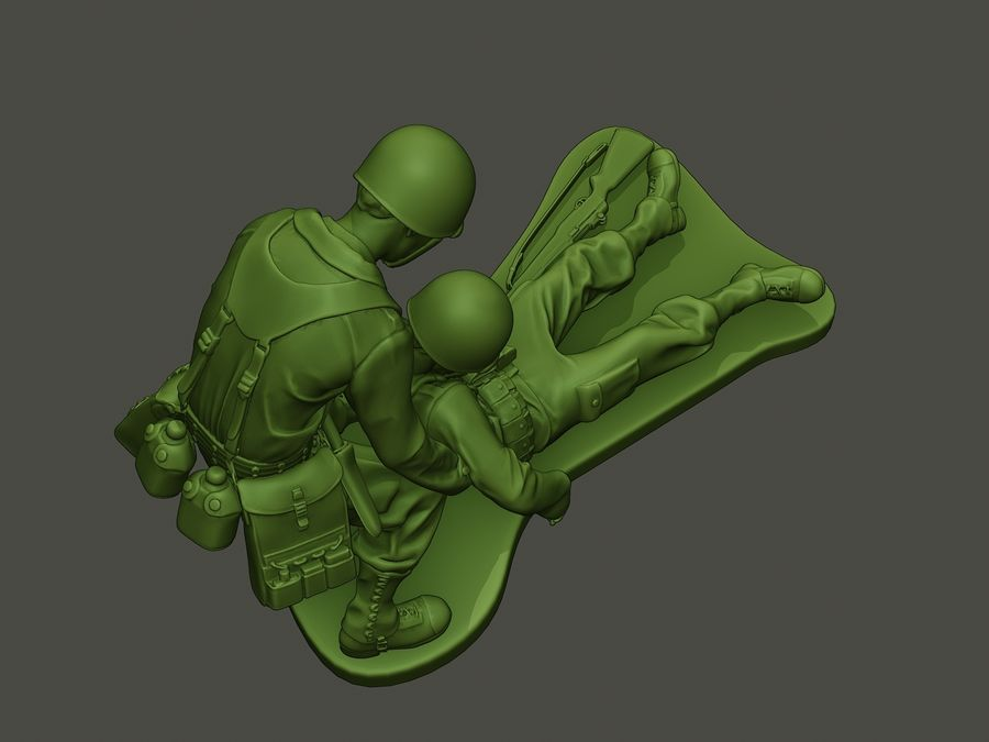 American soldiers ww2  dragging A8 royalty-free 3d model - Preview no. 21
