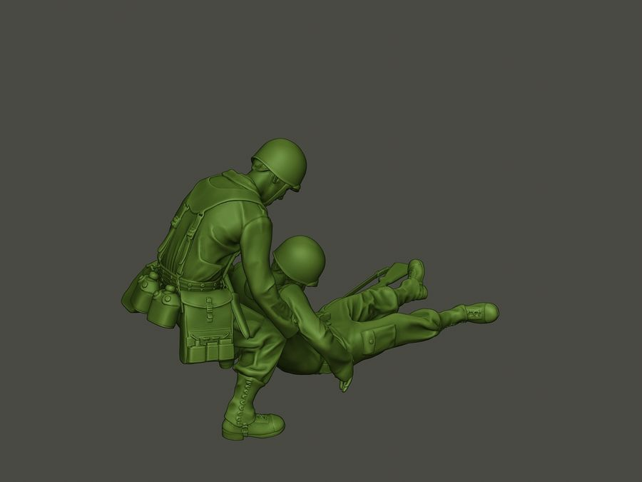 American soldiers ww2  dragging A8 royalty-free 3d model - Preview no. 31