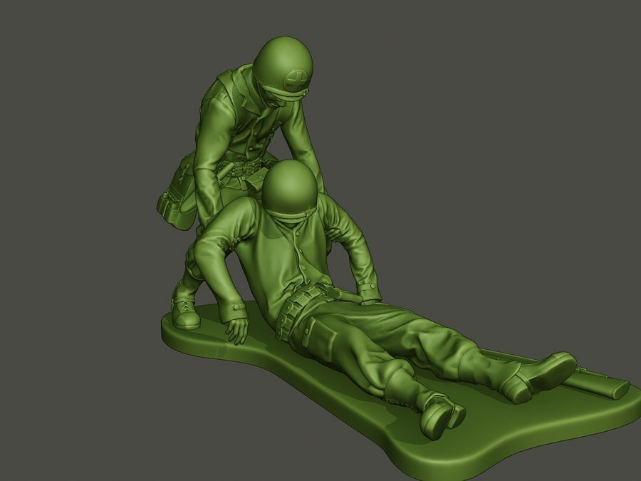American soldiers ww2  dragging A8 royalty-free 3d model - Preview no. 9