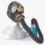带软管的军事防毒面具GP5 3d model