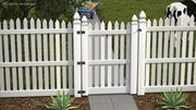 White Fencing Palisade Pointed Pales 3d model