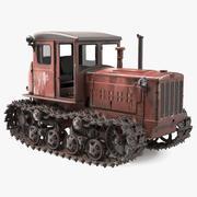 Vecchio trattore cingolato sovietico arrugginito DT54 attrezzato 3d model