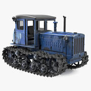 Rusty Diesel Tractor Rigged 3d model