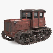 Old Rusty Soviet Crawler Tractor DT54 3d model