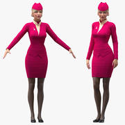 Airline Hostess in Maroon Uniform Rigged for Modo 3d model