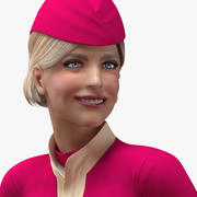 Airline Hostess in Maroon Uniform Rigged for Cinema 4D 3d model
