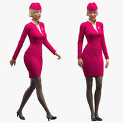 Airline Hostess in Maroon Uniform Rigged for Maya 3d model