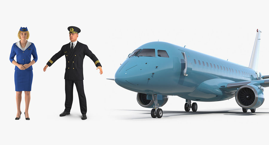 Commercial Airliner with Pilot and Stewardess Collection royalty-free 3d model - Preview no. 2