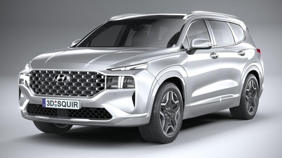 Hyundai SantaFe 2021 royalty-free 3d model - Preview no. 3