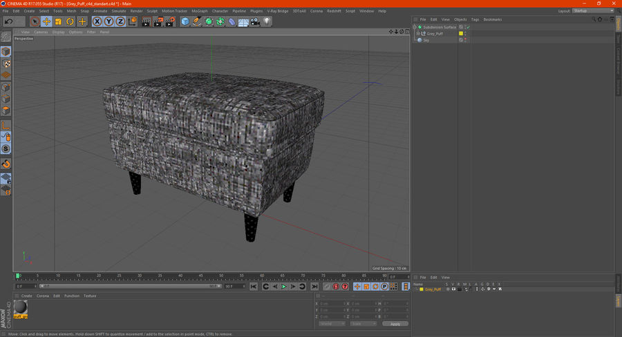 Grey Puff royalty-free 3d model - Preview no. 18
