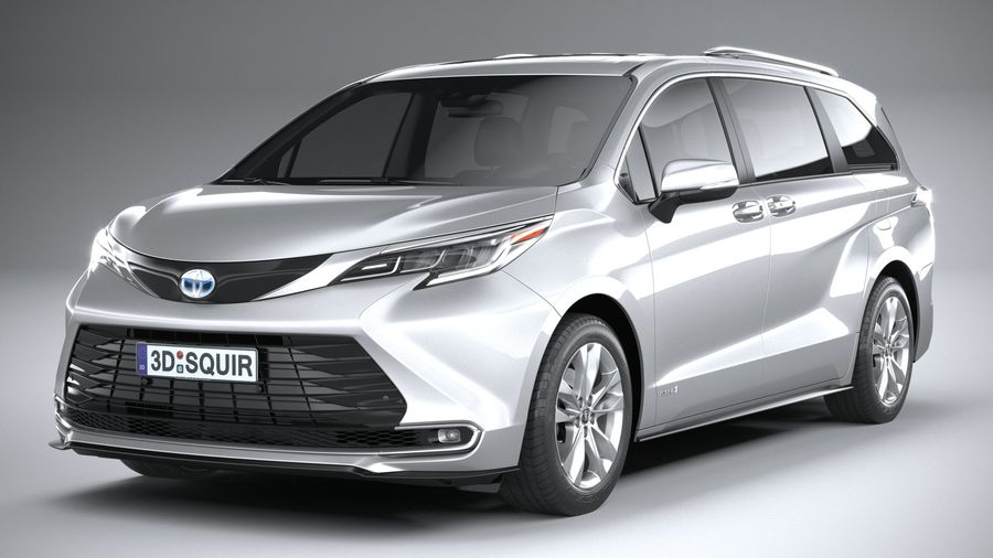 Toyota Sienna 2021 royalty-free 3d model - Preview no. 3