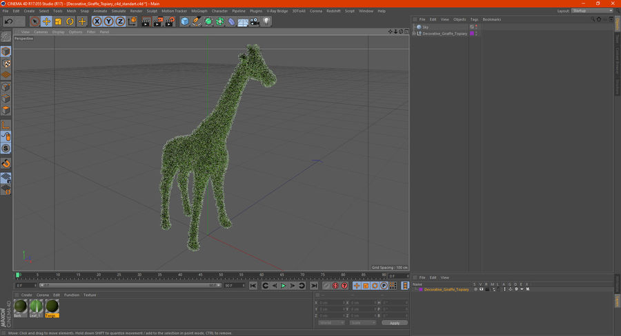 Decorative Giraffe Topiary royalty-free 3d model - Preview no. 19