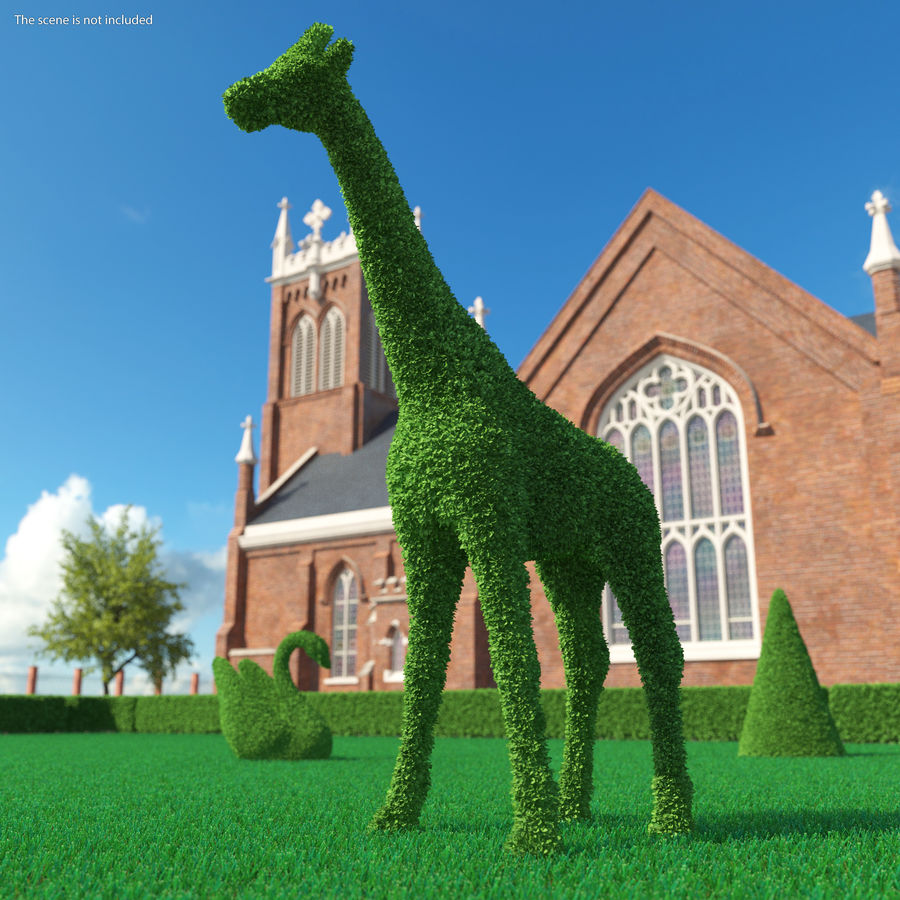 Decorative Giraffe Topiary royalty-free 3d model - Preview no. 3