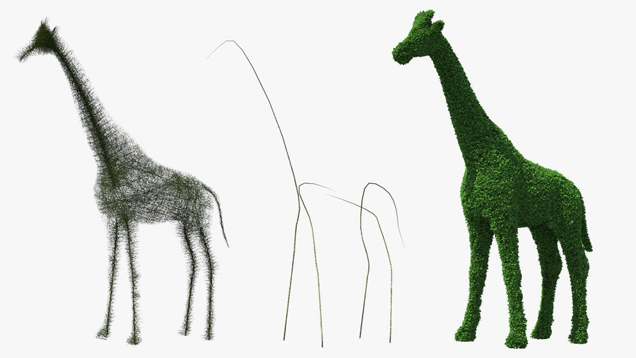 Decorative Giraffe Topiary royalty-free 3d model - Preview no. 8