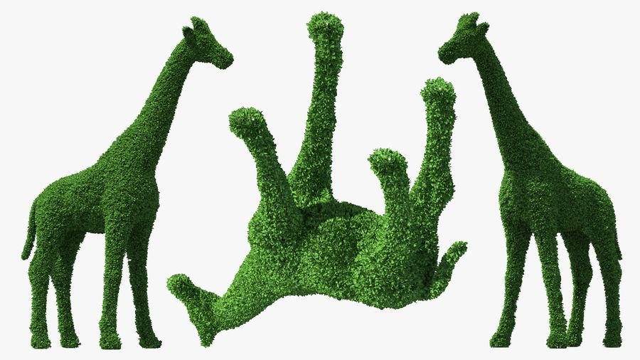 Decorative Giraffe Topiary royalty-free 3d model - Preview no. 5
