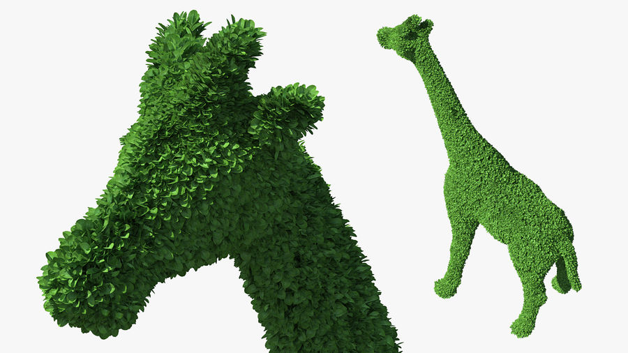 Decorative Giraffe Topiary royalty-free 3d model - Preview no. 2