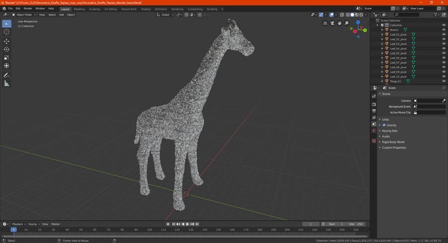 Decorative Giraffe Topiary royalty-free 3d model - Preview no. 21