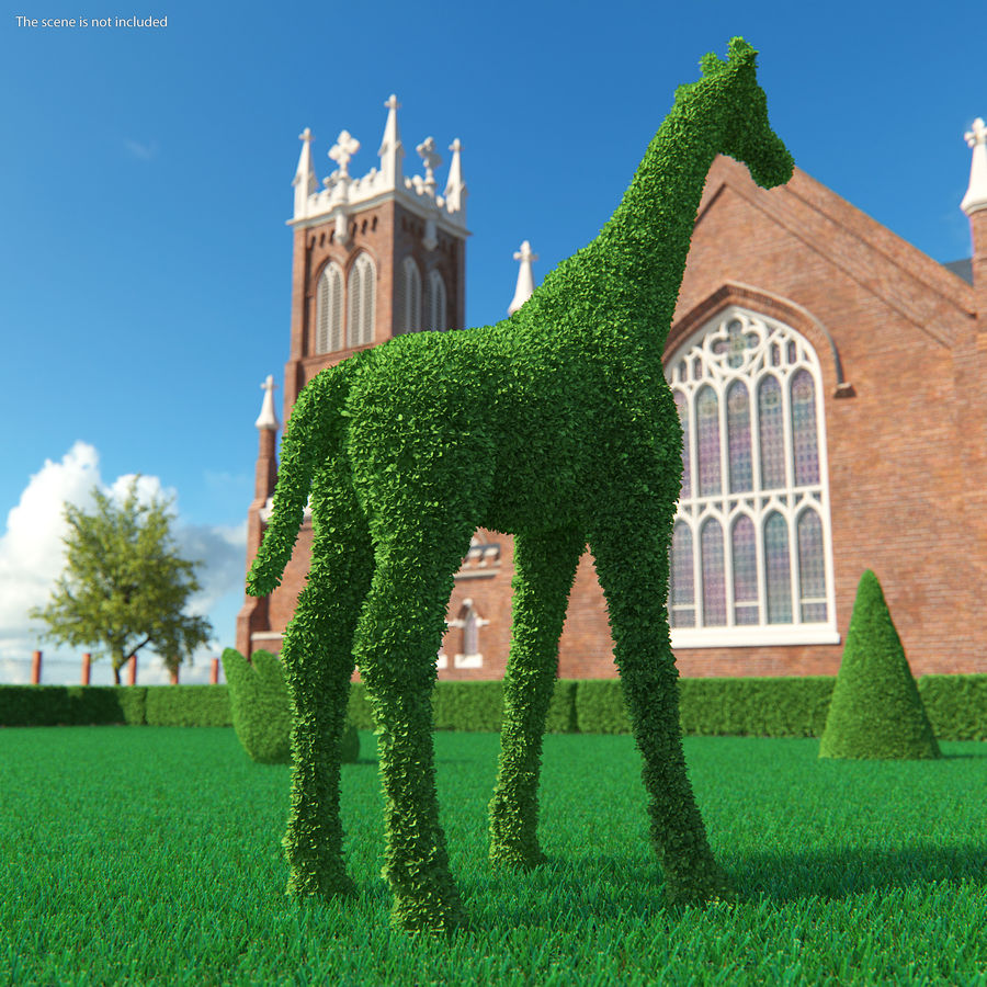 Decorative Giraffe Topiary royalty-free 3d model - Preview no. 4