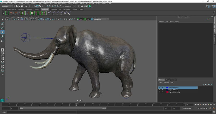 Animated Elephants Collection för Maya royalty-free 3d model - Preview no. 34