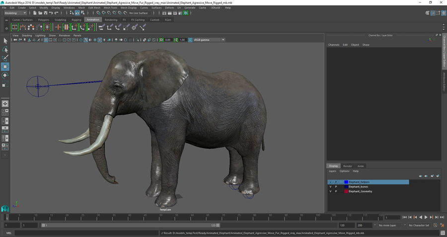 Animated Elephants Collection för Maya royalty-free 3d model - Preview no. 27