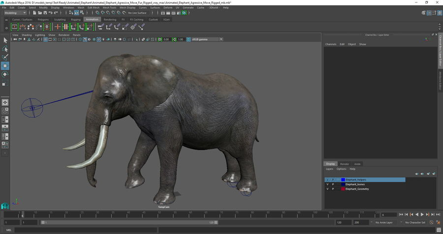 Animated Elephants Collection för Maya royalty-free 3d model - Preview no. 30