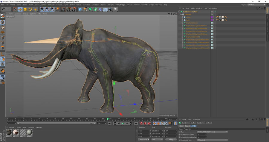 Animated Elephants Collection för Cinema 4D royalty-free 3d model - Preview no. 31