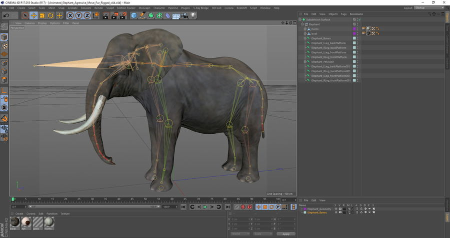 Animated Elephants Collection för Cinema 4D royalty-free 3d model - Preview no. 26