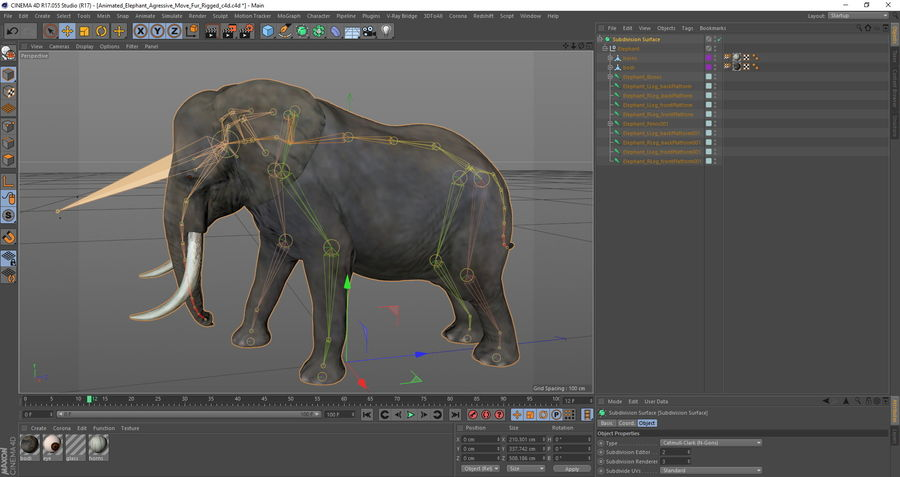 Animated Elephants Collection för Cinema 4D royalty-free 3d model - Preview no. 29